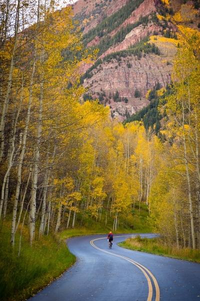 Biking down Maroon Creek Road
