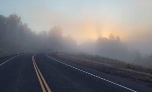 sun coming through fog